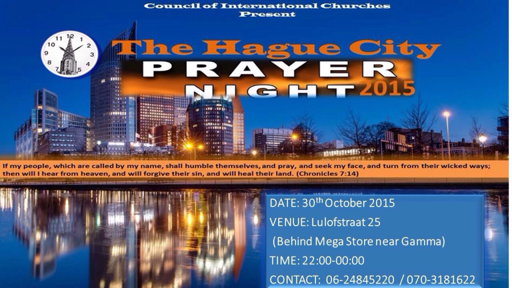 Uitnodiging - Vrijdag 30 okt 2015 - Prayer Night